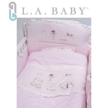 【美國 L.A. Baby】田趣風光純棉七件式寢具組(M)( 藍色/粉色)