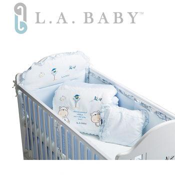 【美國 L.A. Baby】田趣風光純棉七件式寢具組(L)(MIT 藍色/粉色)