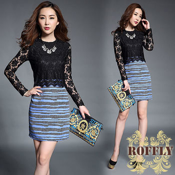 【ROFFLY蘿芙莉】預購-BQ8631-性感鏤空蕾絲拼接假兩件修身長袖洋裝