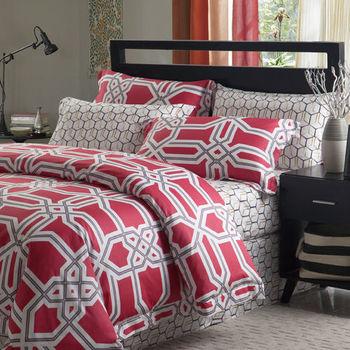 【R.Q.POLO】亞曼尼系列-花韶 純棉雙人標準三件式床包+枕套組(5尺)
