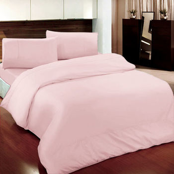 【Victoria】素雅 雙人四件式純棉被套床包組 粉色