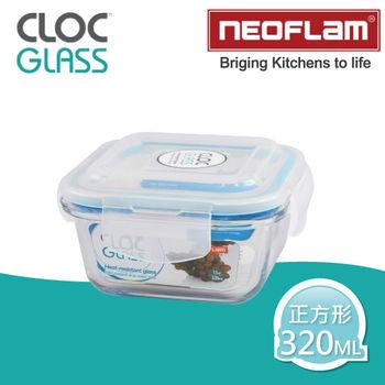 【韓國NEOFLAM】耐熱微波烤箱玻璃保鮮盒-320ML(正方形)