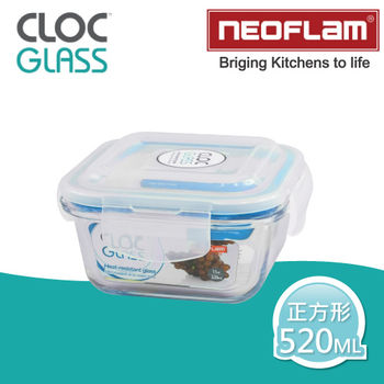 【韓國NEOFLAM】耐熱微波烤箱玻璃保鮮盒-520ML(正方形)