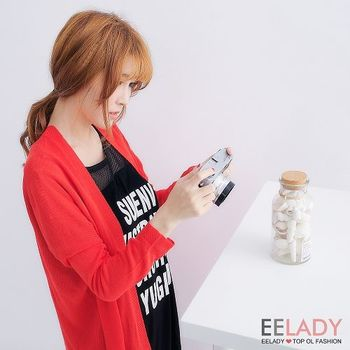 【EE-LADY】素面針織七分袖開襟外套(紅)