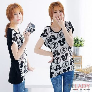 【EE-LADY】滿版米奇M字短袖T恤