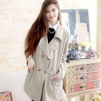 【魔法拉拉】韓系大口袋翻領襯衫風格長版薄外套A484(極簡杏)