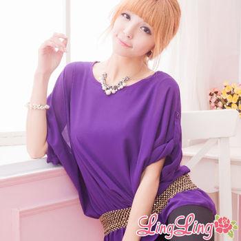 lingling中大尺碼 金色編織束腰雪紡短袖上衣(魅力紫)A972-04