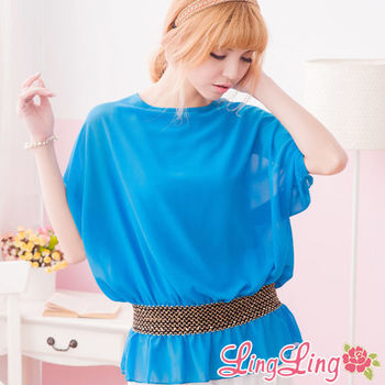lingling中大尺碼 金色編織束腰雪紡短袖上衣(薰彩藍)A972-03