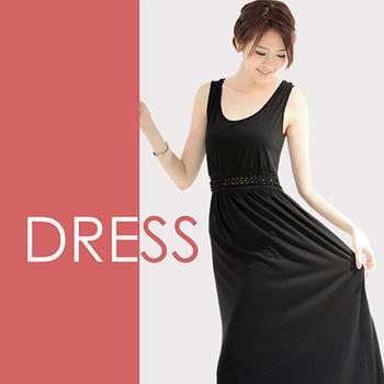 【Highly】波希米亞風性感顯腰腰部鏤空長洋裝(S-M)