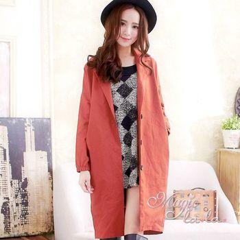 【魔法拉拉】寬鬆長版西裝外套A450(雅緻桔)
