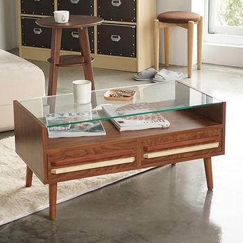 《舒適屋》現代雙色雙抽強化玻璃茶几/咖啡桌(2色可選)
