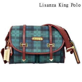 【Lisanza King Polo】 格紋牛皮多層斜揹包