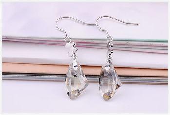 新光飾品-新款施華洛水晶透明小方塊耳環