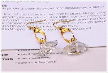 新光飾品-新款施華洛水晶透明小方石耳環