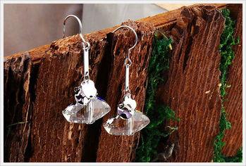 新光飾品-新款施華洛水晶透明勾勾耳環