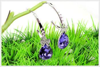 新光飾品-新款施華洛水晶藍色水滴風情耳環