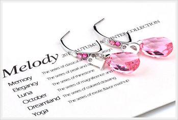 新光飾品-新款施華洛水晶粉色水滴風情耳環