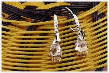 新光飾品-新款施華洛水晶白色水滴風情耳環