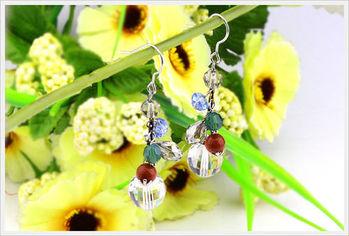新光飾品-新款施華洛水晶透明圓珠耳環