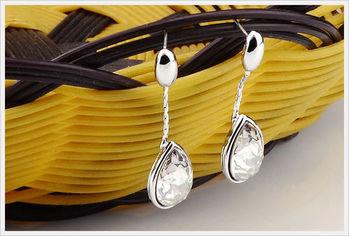 新光飾品-新款施華洛水晶白色水滴耳環