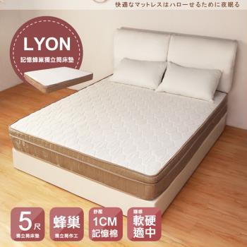 H&D LYON記憶蜂巢三線獨立筒床墊(雙人5尺)