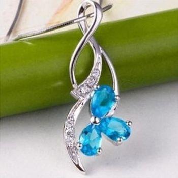 【米蘭精品】天然藍水晶925純銀項鍊飾品墜子