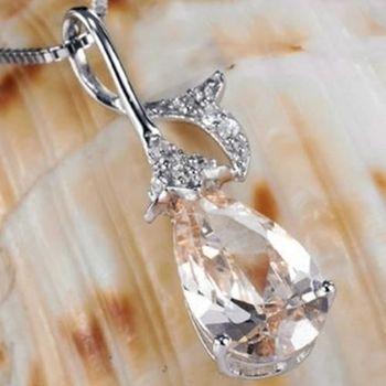 【米蘭精品】香檳水晶925純銀項鍊飾品墜子