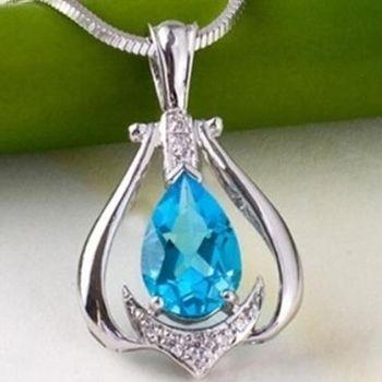 【米蘭精品】藍水晶925純銀項鍊飾品墜子