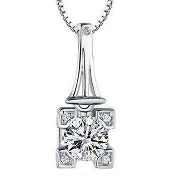 【米蘭精品】巴黎鐵塔925純銀項鍊飾品墜子