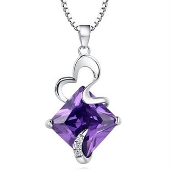 【米蘭精品】紫水晶925純銀項鍊飾品墜子