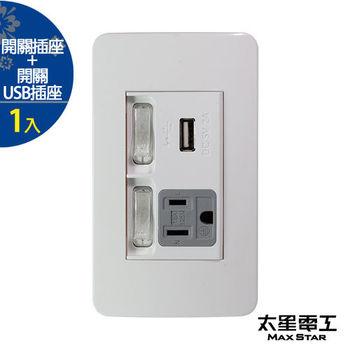 【太星電工】聯蓋帶開關-接地單插座/USB單插座(1入) A415D