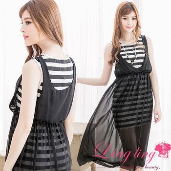 lingling中大尺碼 韓系襯條紋雪紡假兩件背心長洋裝(簡約黑)A2280-02