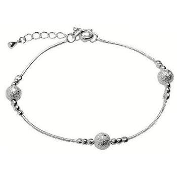 【米蘭精品】鑲嵌磨砂925純銀手鍊銀飾