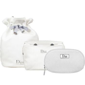 Dior 迪奧 壓紋磁扣Beaute化妝包+橢圓銀星燦Beaute美妝包+柔白皮質圓桶束口包