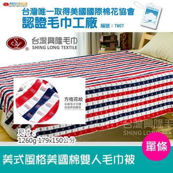 【台灣興隆毛巾製】美國棉美式風格雙人毛巾被 (單條)