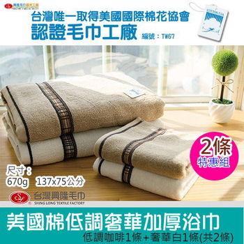 MIT商品【台灣興隆毛巾製】美國棉低調奢華加厚浴巾-(2條特惠組)