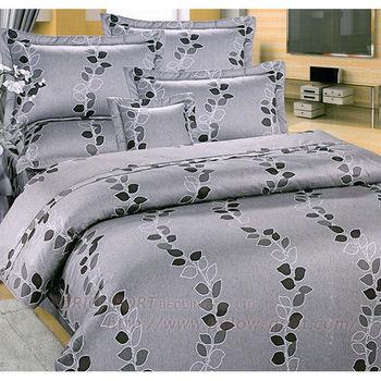 【Victoria】葉語  純棉雙人床包+枕套三件組(灰)