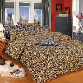 【Victoria】豹紋 純棉雙人床包+枕套三件組(黃)