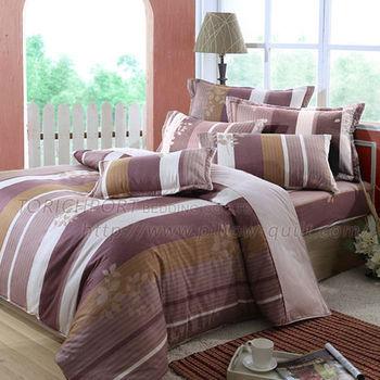 【Victoria】飄香  純棉雙人床包+枕套三件組(棕)