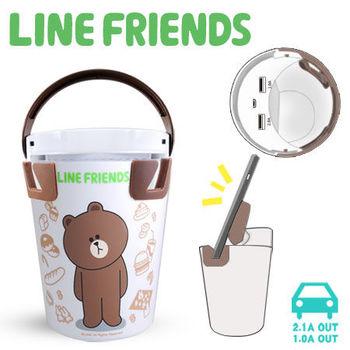 LINE FRIENDS 熊大手拿杯造型車用充電器 (LN-CP01B)