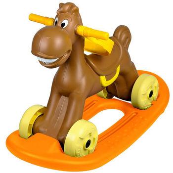 寶貝樂 可愛小馬學步車/助步車附搖搖板-咖啡