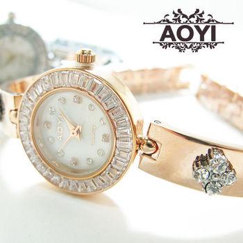 AOYI氣質立體鑲鑽小花手環式鍊錶 手錶