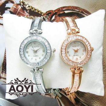 AOYI簡約鑲鑽刻度手環式鍊錶 手錶