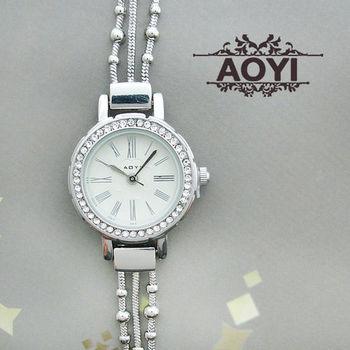 AOYI珠鍊流蘇羅馬數字鑲鑽鍊錶 手錶
