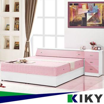 KIKY 粉紅凱蒂雙人5尺三件床組(床頭+床底+床邊櫃)