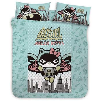 【享夢城堡】HELLO KITTY 蝙蝠女系列-雙人純棉四件式床包涼被組(綠)