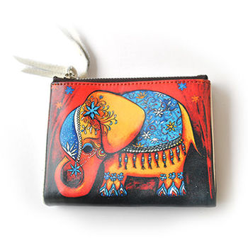 【PETiTEY】橘色泰國風大象皮夾 短夾 錢包 卡片