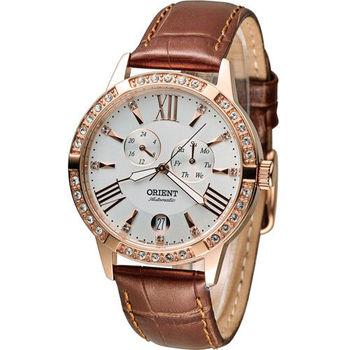 東方錶 ORIENT Elegant 璀璨時光機械錶 FET0Y002W 白x咖啡