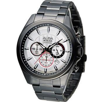 ALBA 雅柏 活力型男競速計時腕錶 VD53-X219SD AT3829X1 黑x白