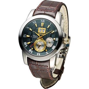 SEIKO PREMIER 人動電能萬年曆腕錶 7D56-0AB0N  SNP127J1綠x咖啡色41mm